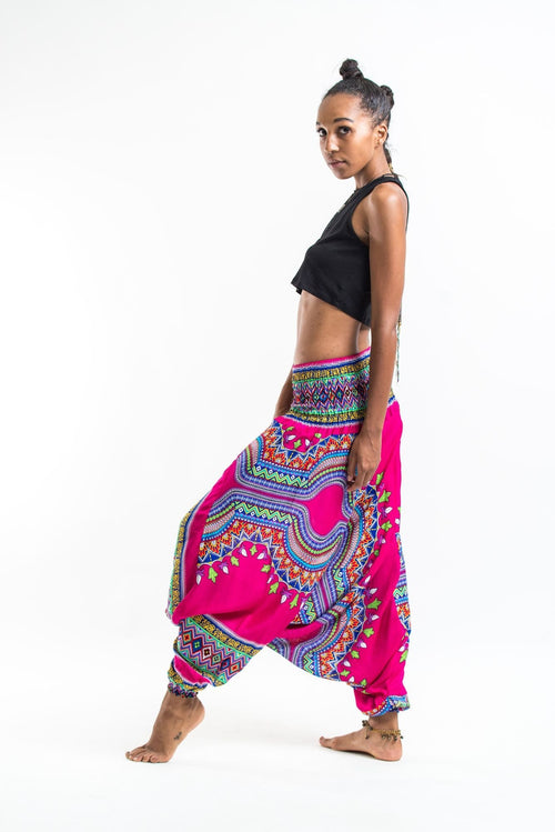 Unisex Thai Low Crotch Harem Pant / Jumpsuit / Jumper- Dashiki Pink