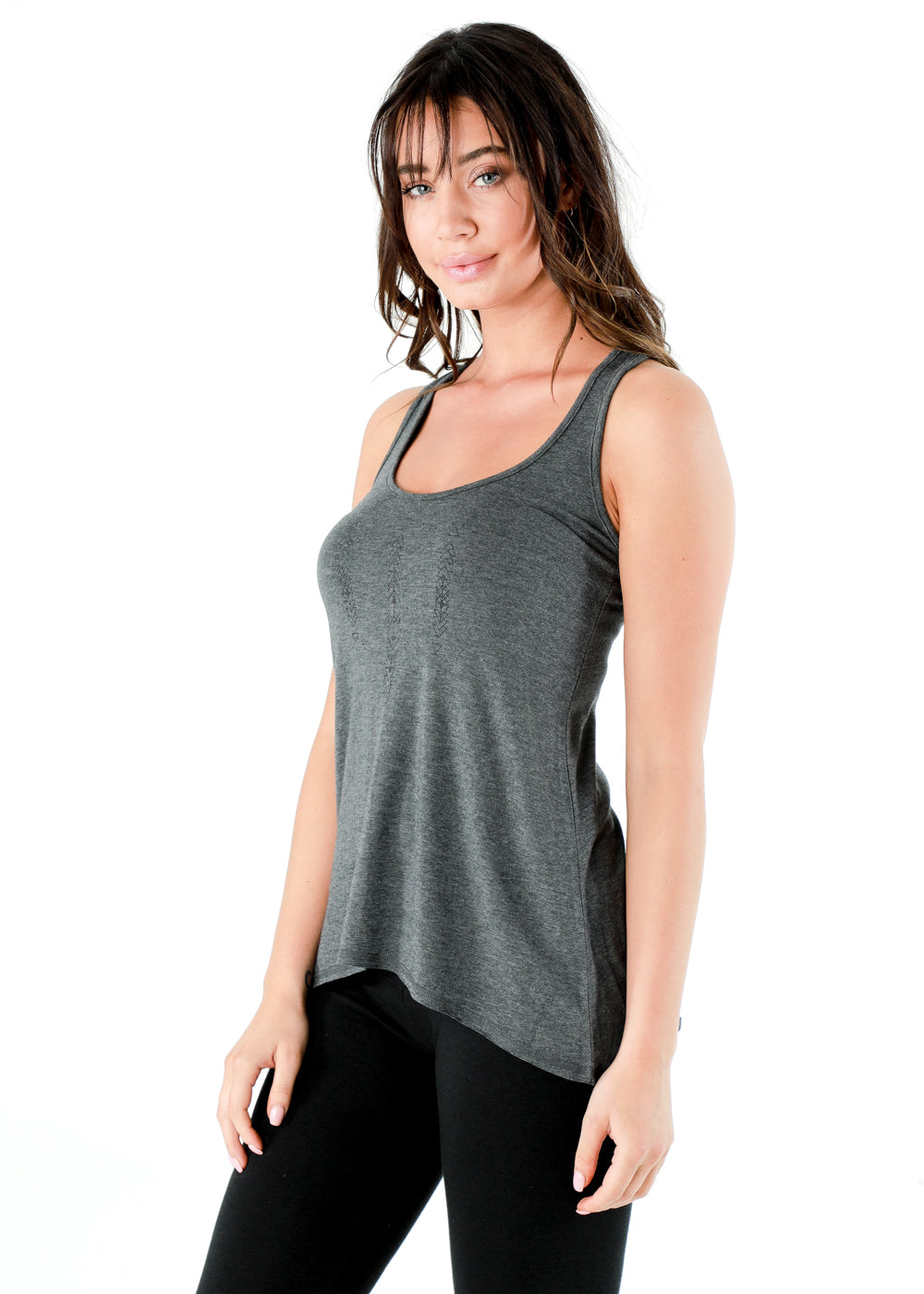 Girl wearing grey nomad kinetic tank of organic cotton and bamboo