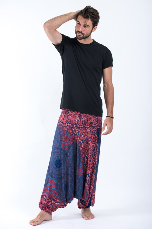 Unisex Thai Low Crotch Harem Pant / Jumpsuit / Jumper- Mandala Pink