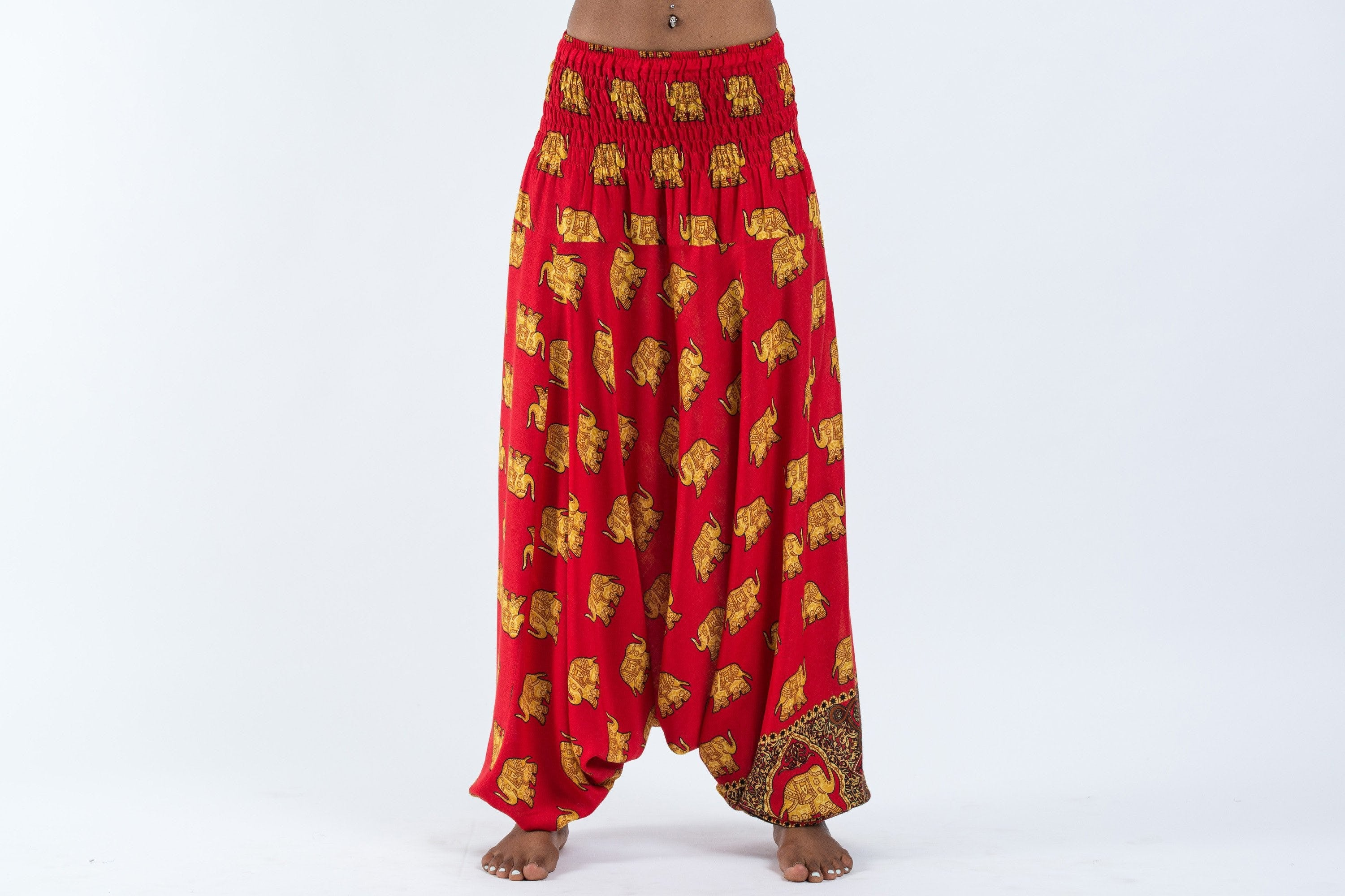 Unisex Thai Low Crotch Harem Pant / Jumpsuit / Jumper- Golden Elephants