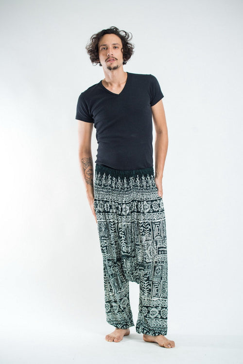 Unisex Thai Low-Cut Harem Pant- Tribal Green