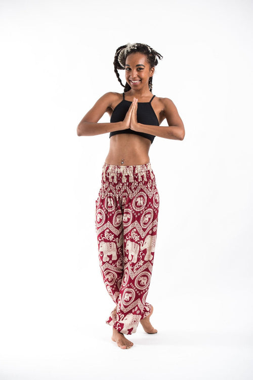 Thai Pocket Drawstring Harem Pants - Red Elephant
