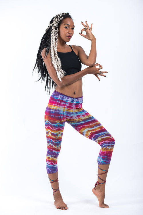Cotton Capri legging- Tie Dye Rainbow Stripes