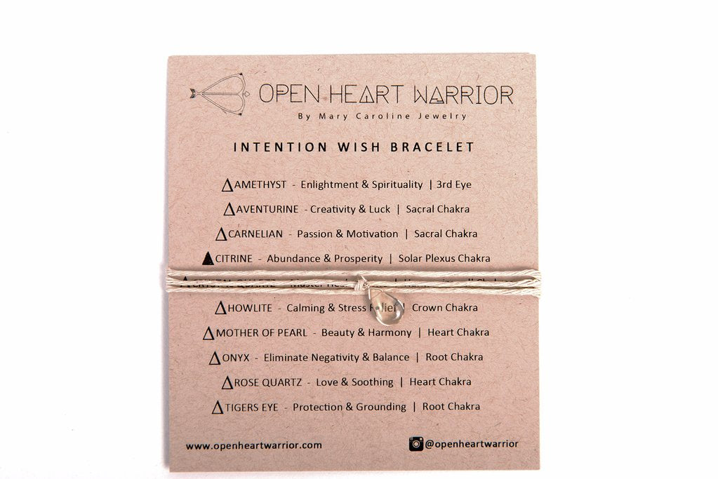 Intention Wish Bracelet- various stones & hemp