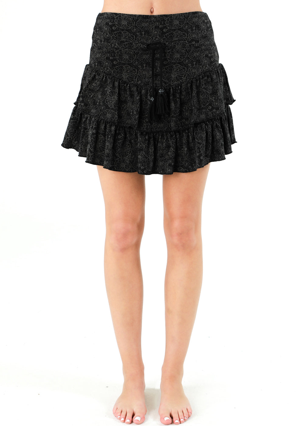 short festival poppy bamboo organic cotton skirt black