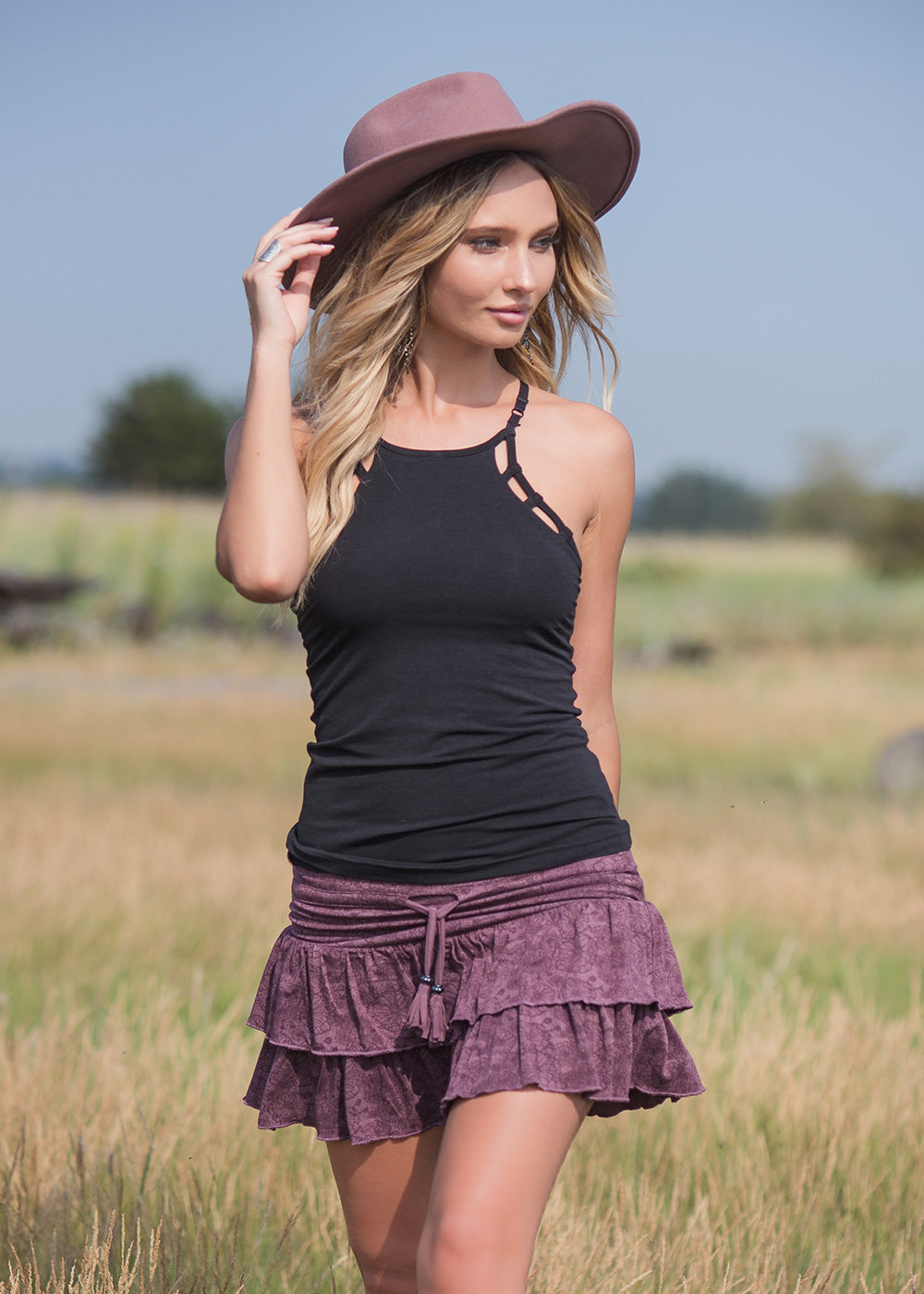 short festival poppy bamboo organic cotton skirt