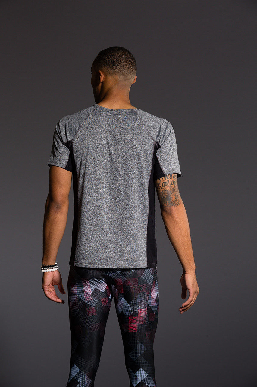 Onzie Men's Raglan Short Sleeve Tee - Gray/Black