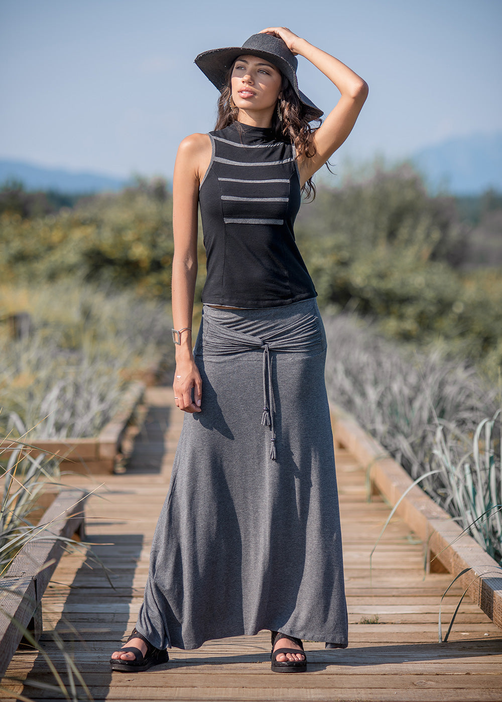 Satorini Skirt- Charcoal Black (Bamboo & Organic Cotton)