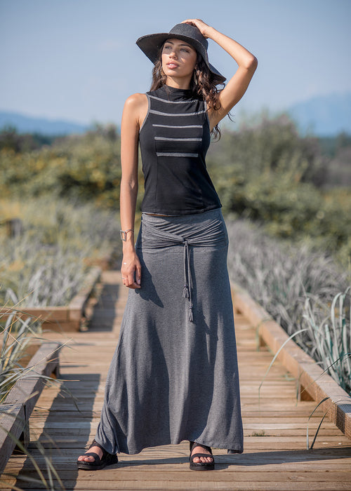 Santorini Skirt- Charcoal Grey (Bamboo & Organic Cotton)