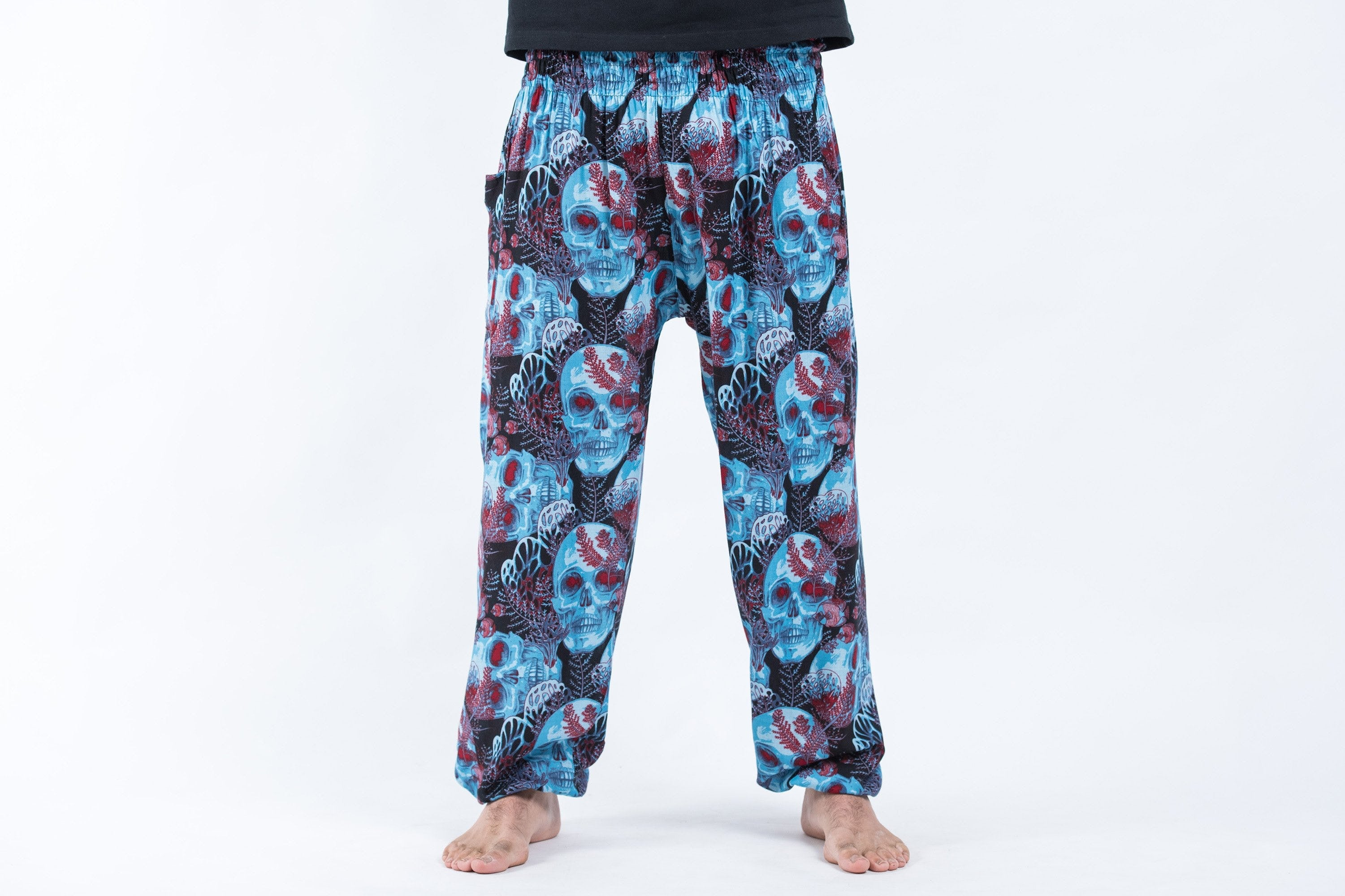 Unisex Thai Pocket Skulls Harem Pant- Blue