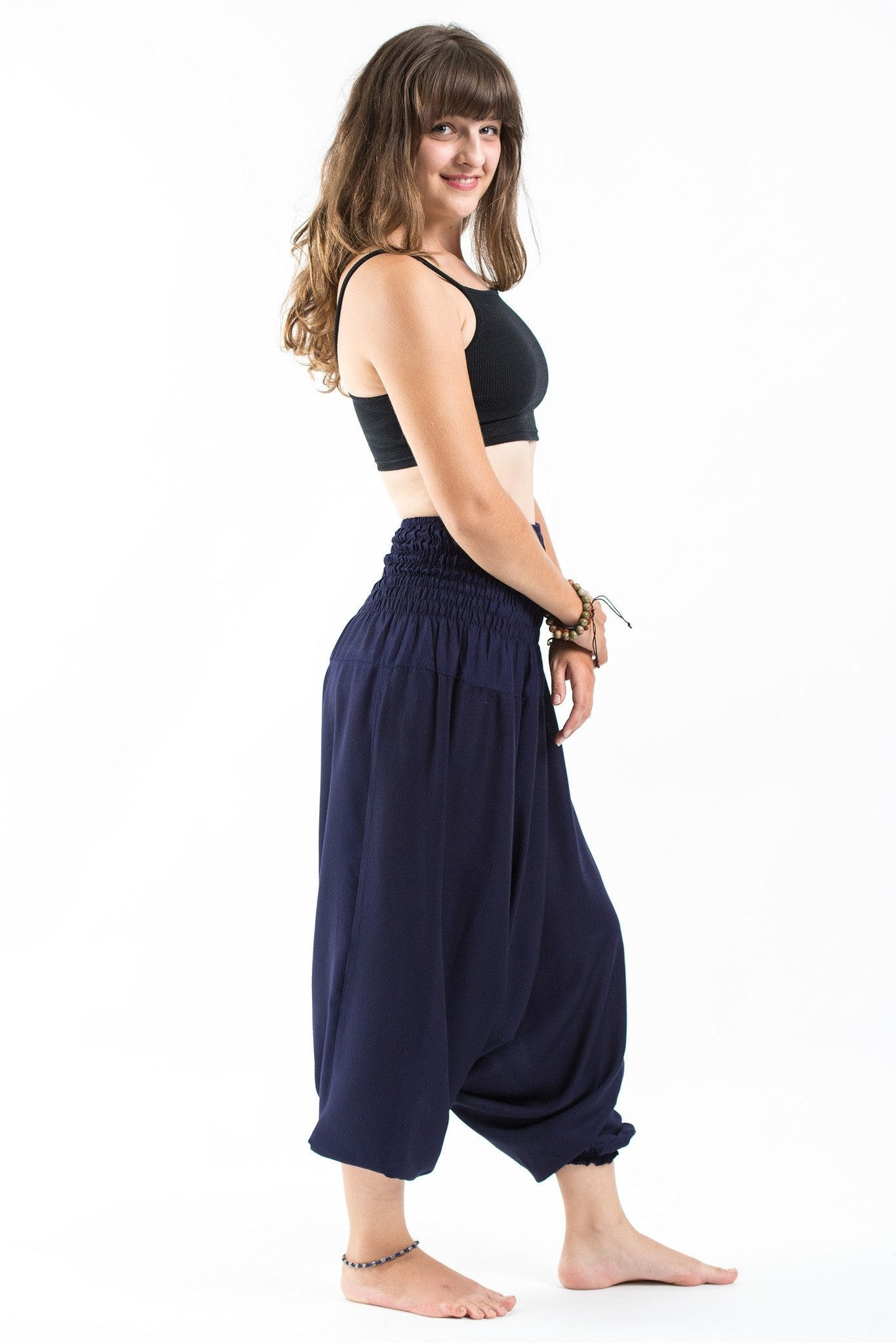 Thai Low Crotch Harem Pant / Jumpsuit / Jumper- Solid Navy Blue
