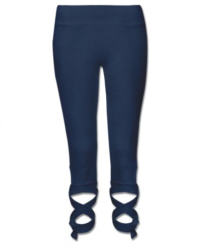 Soul Flower Organic Cotton Wrap Barre Capri Pant- Navy Wrap Cropped Legging