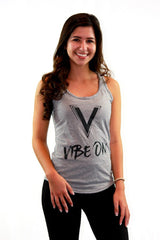 "Vibration- ""Vibe On"" Racerback Tank Grey"