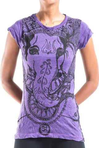 Thai Womens T-shirt Cotton cap sleeve - Ganesh purple