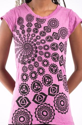 Thai Womens T-shirt Cotton cap sleeve -Fractal Pink