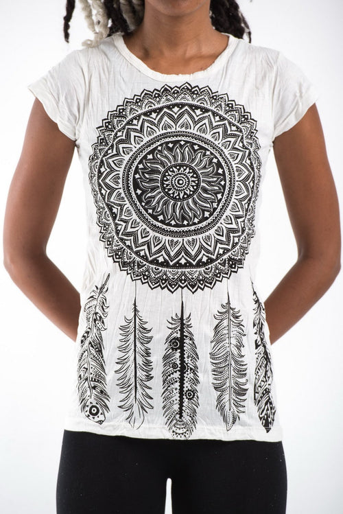 Thai Womens T-shirt Cotton cap sleeve - Dream Catcher White