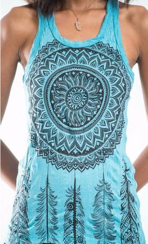 Womens Thai Tank Top- Dream Catcher Teal