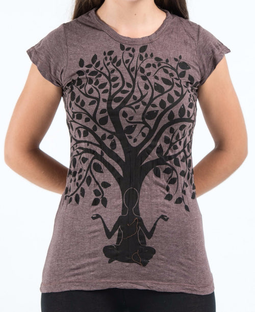 Thai Womens T-shirt Cotton cap sleeve - Tree of Life Brown