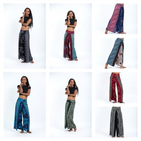 Thai Womens Harem Wide Leg Double layer Palazzo Pant- Assorted patterns