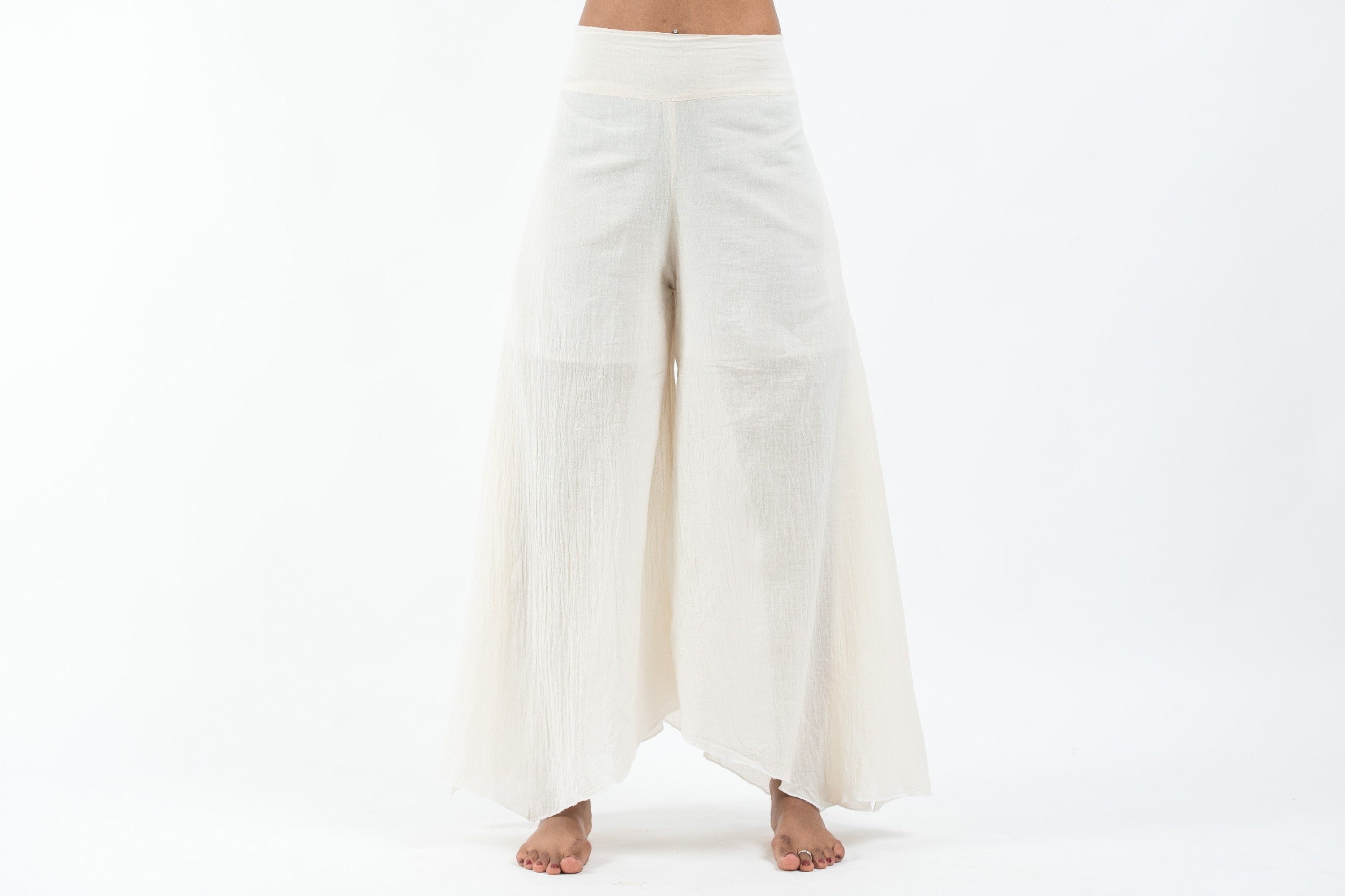 Tinkerbell Thai cotton crinkle wide flowy leg side slit palazzo pant- Cream