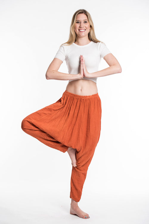 Super Soft Crinkled Unisex Thai Low Crotch Harem Pant- Burnt Orange