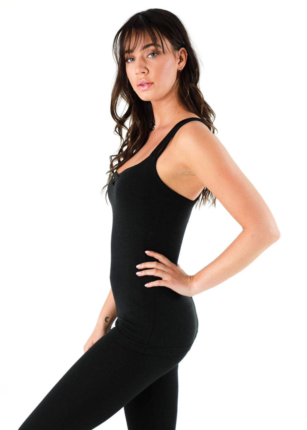 black bamboo and organic cotton soft tank top with a criss cross on the chest great for yoga or gym or lunch