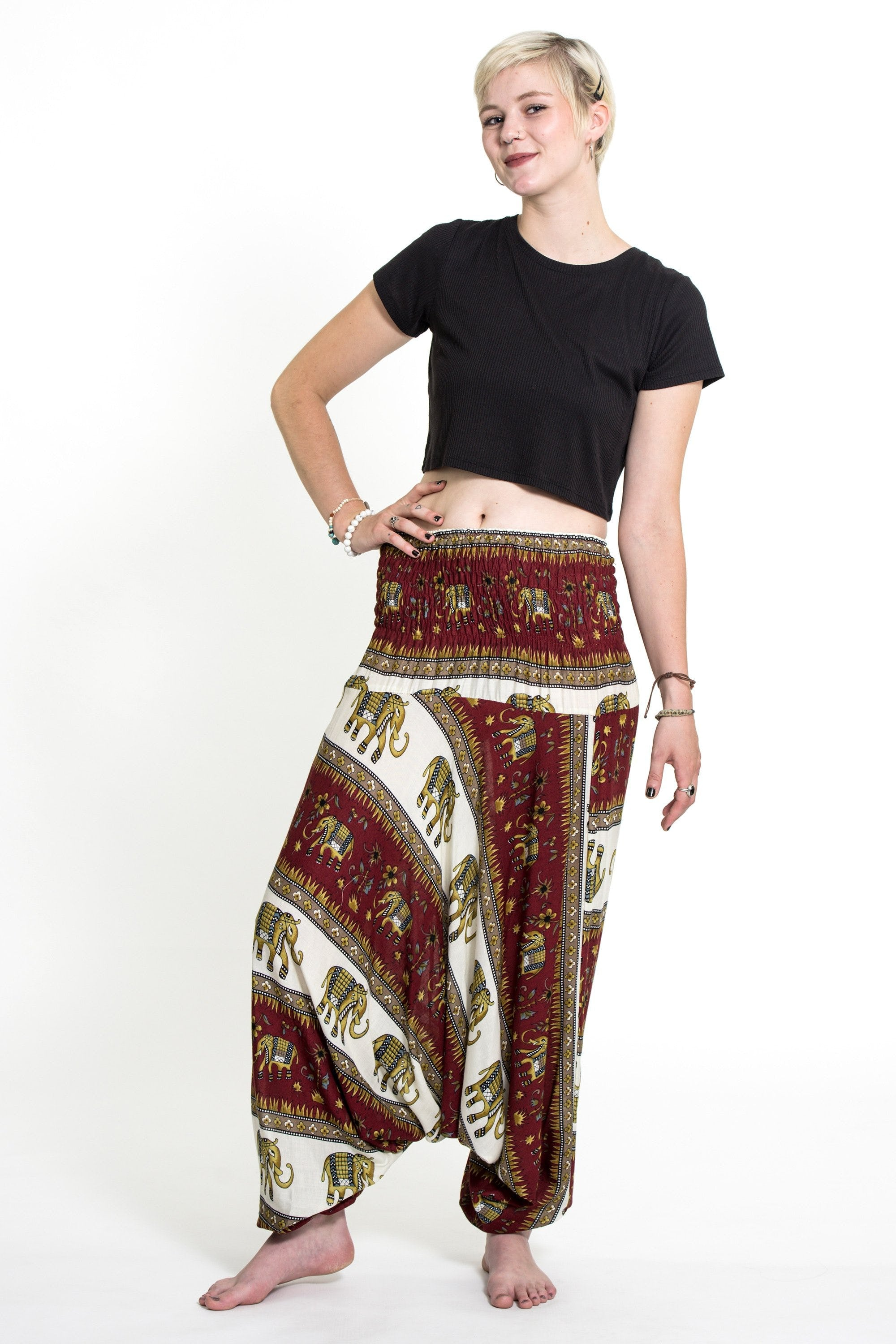 Thai Low Crotch Harem Pant / Jumpsuit / Jumper- Elephant Bliss