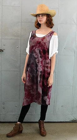 Cotton Tie Dyed Bubble Gauze Sleeveless Dress / Tunic- Purples