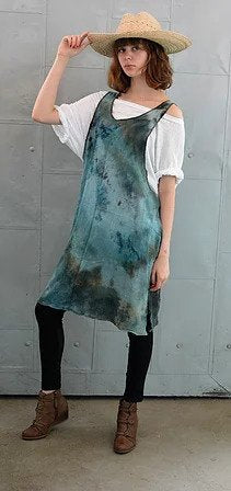 Cotton Tie Dyed Bubble Gauze Sleeveless Dress / Tunic- Blues & Greens