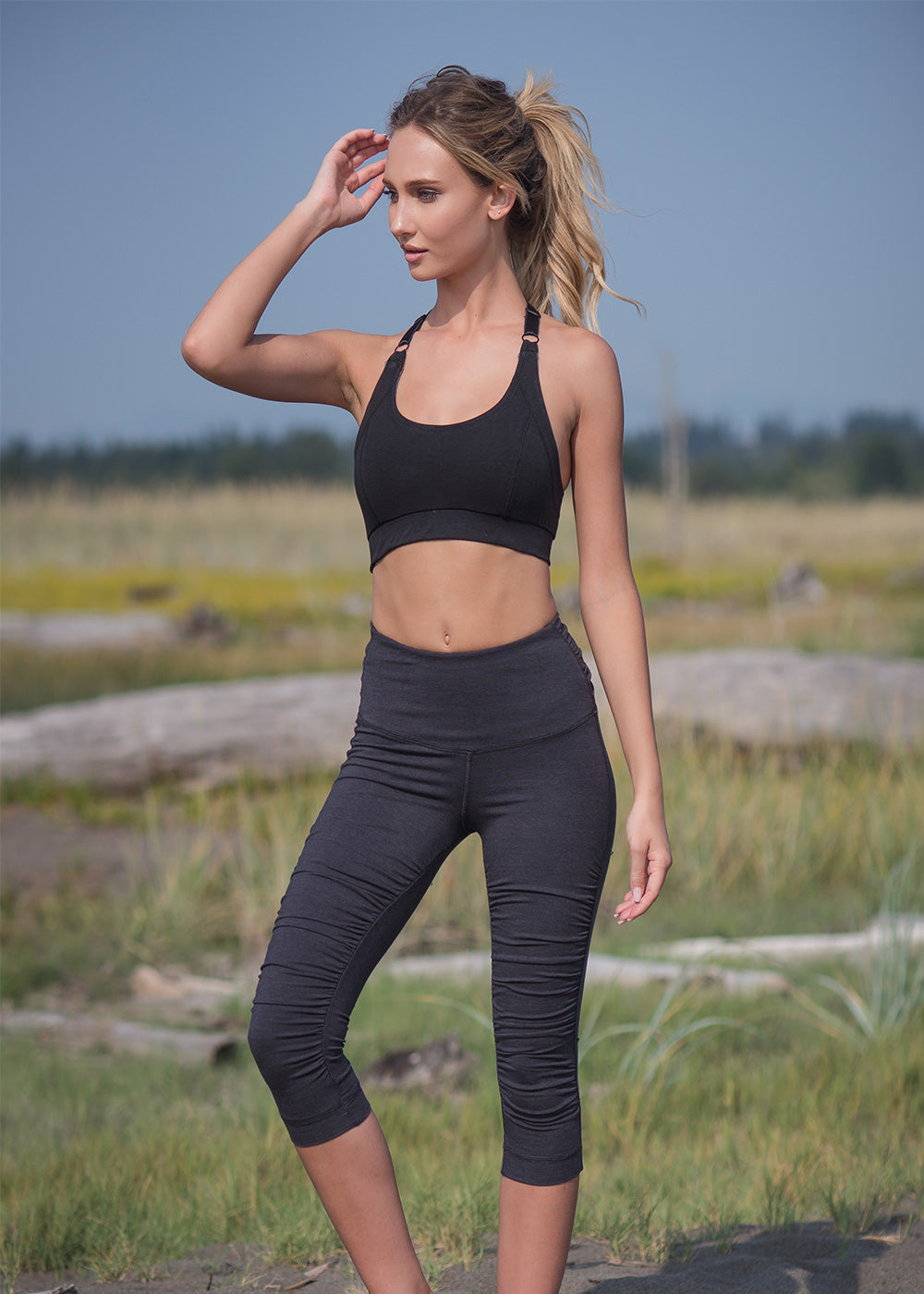 Bamboo and organic cotton black super soft thick capri pants with ruching all along the front to create a gathered look