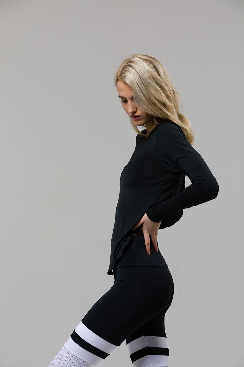 Onzie Tulip Back Long Sleeve Top - Black
