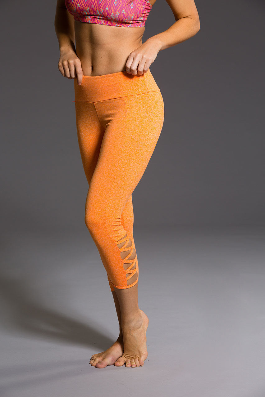 Onzie Weave Capri- Dusk orange