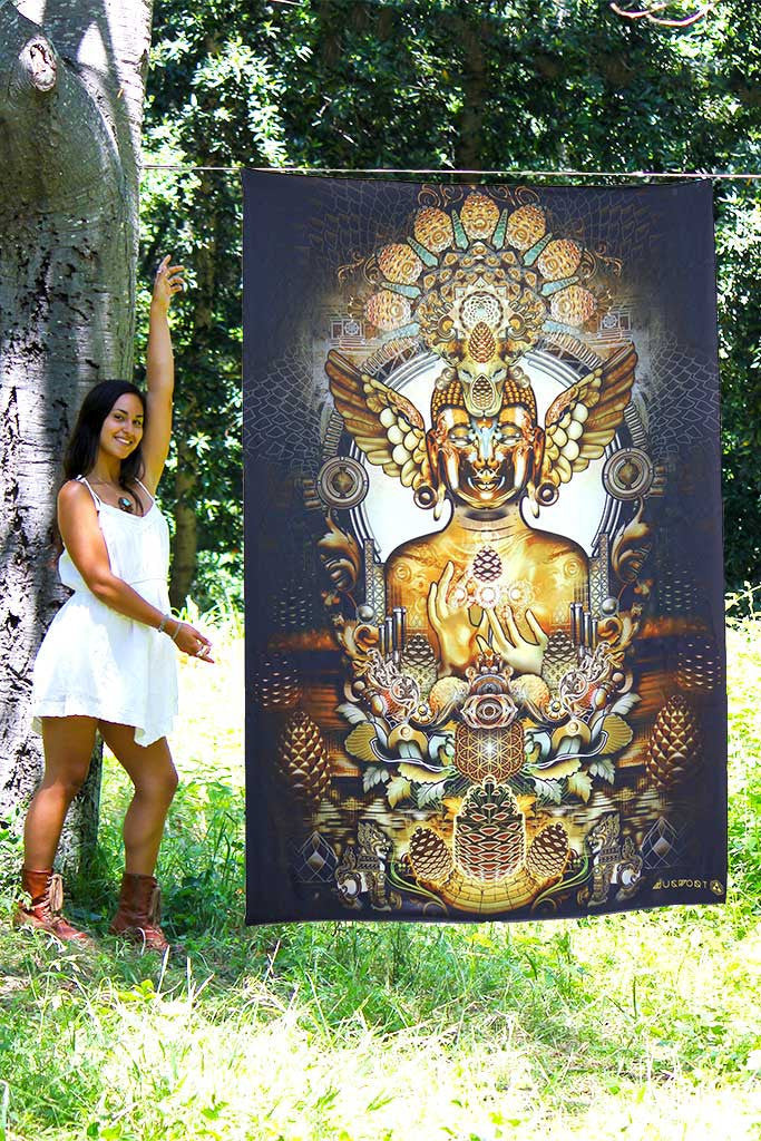 "Third Eye Tapestry - ""Pinecone Buddha"" by Mugwort"