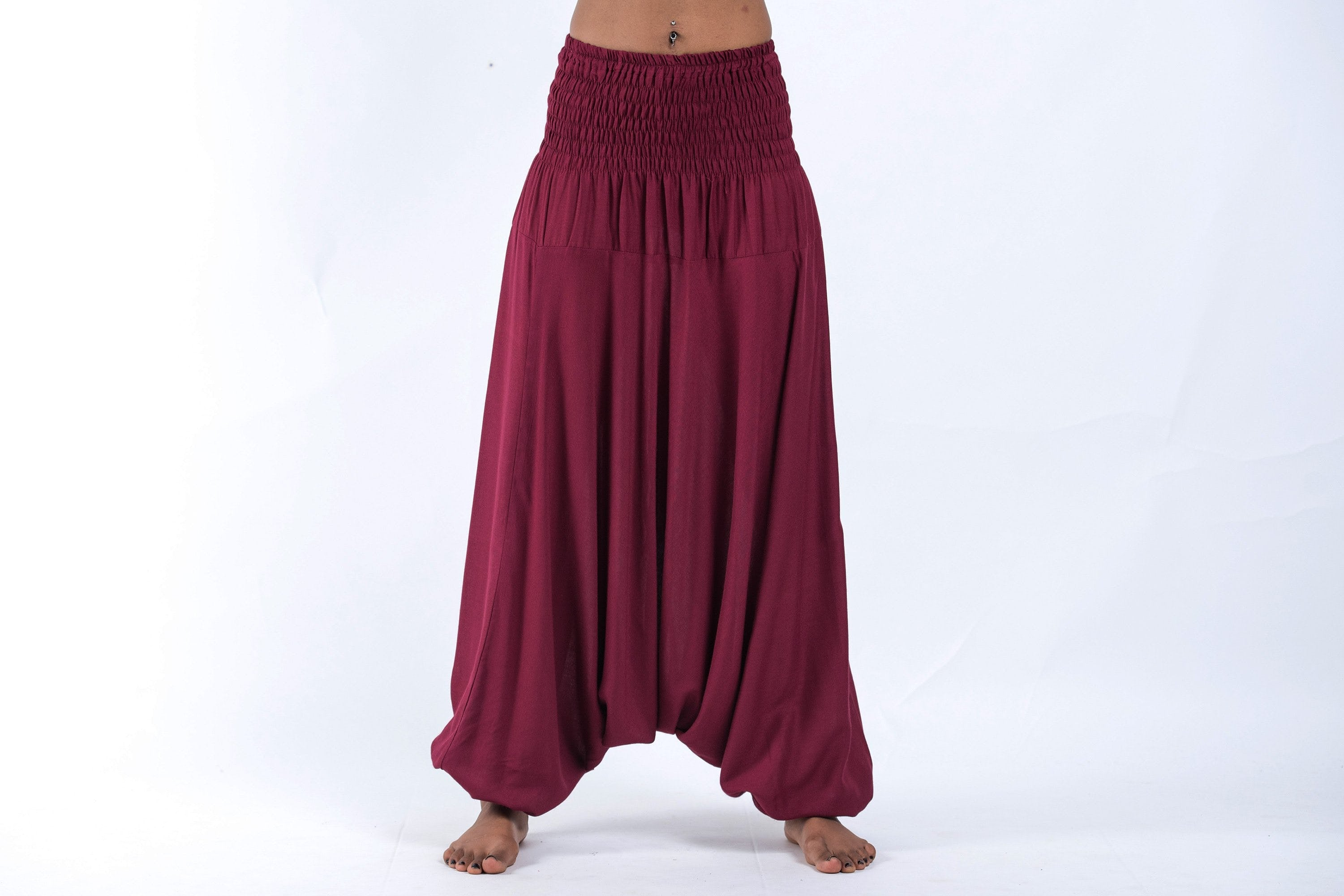 Thai Low Crotch Harem Pant / Jumpsuit / Jumper- Solid Maroon Red