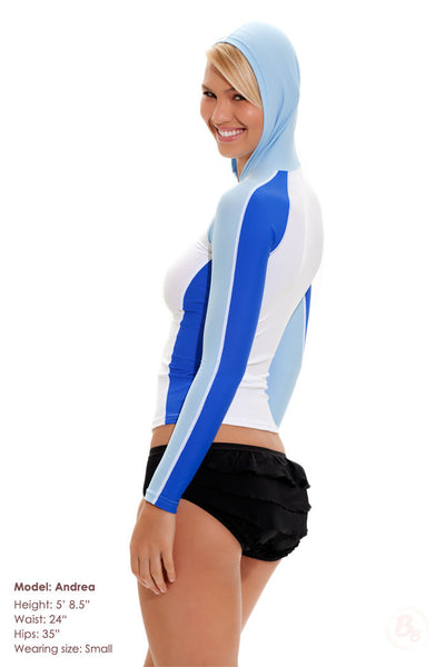 Long Sleeve Rashguard with Hoodie & SPF50 - PaddedPanties.com  - 3