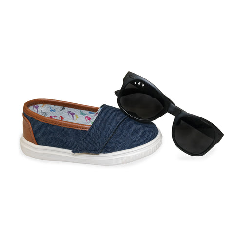 "Denim ""Baby Steps"" Shoes + Bueller (black) Shades Gift Set - ro•sham•bo baby sunglasses"