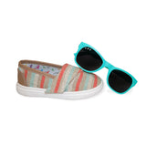 "Striped ""Baby Steps"" Shoes + Goonies (teal) Shades Gift Set - ro•sham•bo baby sunglasses"