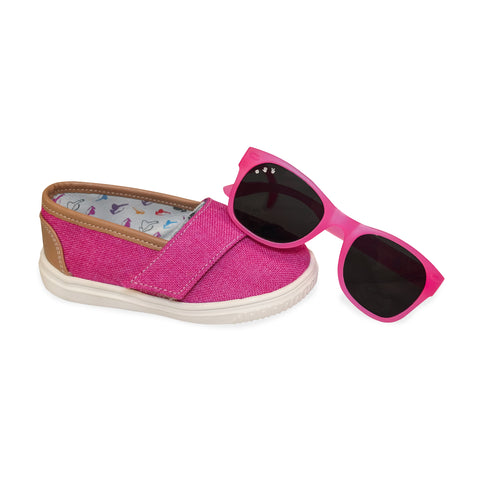 "Fuschia ""Baby Steps"" Shoes + Kelly Kapowski (pink) Shades Gift Set - ro•sham•bo baby sunglasses"