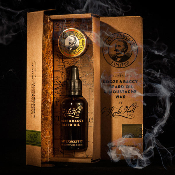 Pack Regalo Aceite y Cera Bigote Ricki Hall Booze & Baccy Captain Fawcett