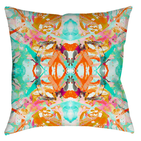 411 Coral Blush Turquoise #2 Pillow Cover