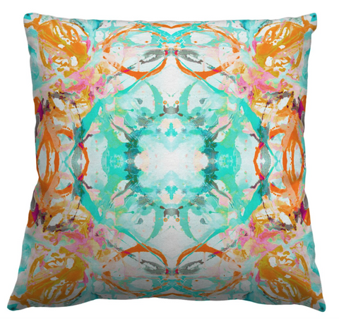 411 Coral Blush Turquoise #1 Pillow Cover