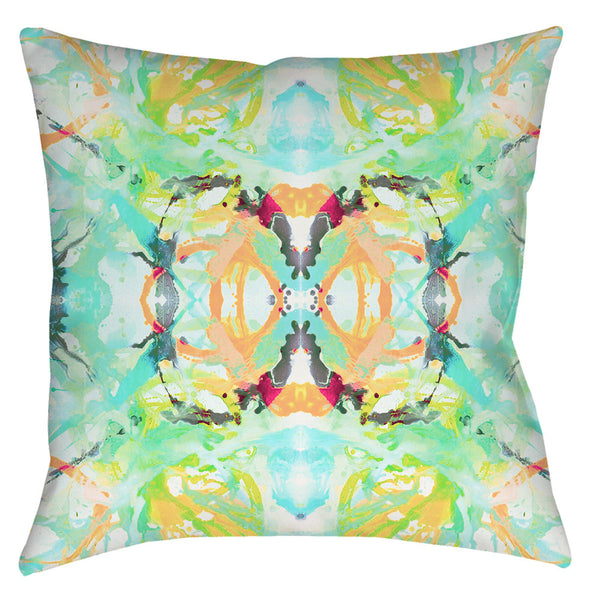 411 Teal Peach #2 Pillow Cover
