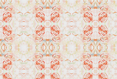 411 Red Peach Mint Fabric