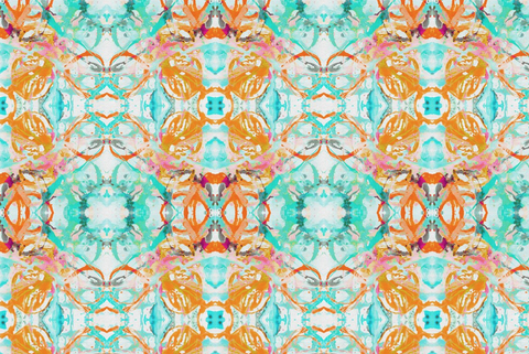 411 Coral Blush Turquoise Fabric