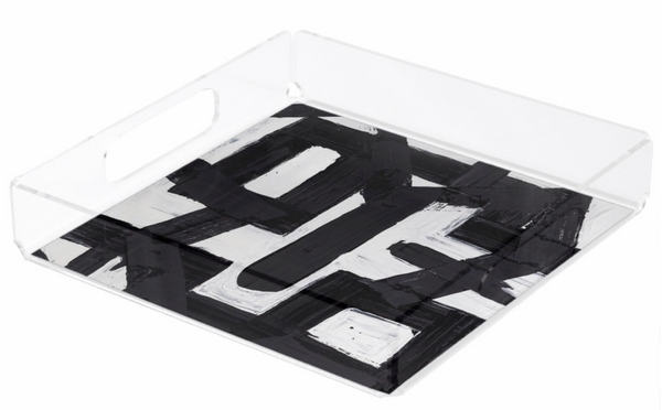 82113 Black Square Lucite Tray
