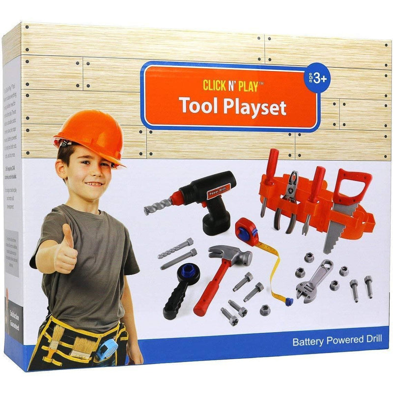 Click n Play Toy Click N' Play 23 piece Kids Pretend Play Real Working Toy Tool Set