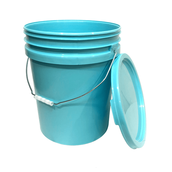 Lee Fisher Sports Bucket Bucket - 5 Gallon Bucket Metal handle with lid, Aqua Blue Color