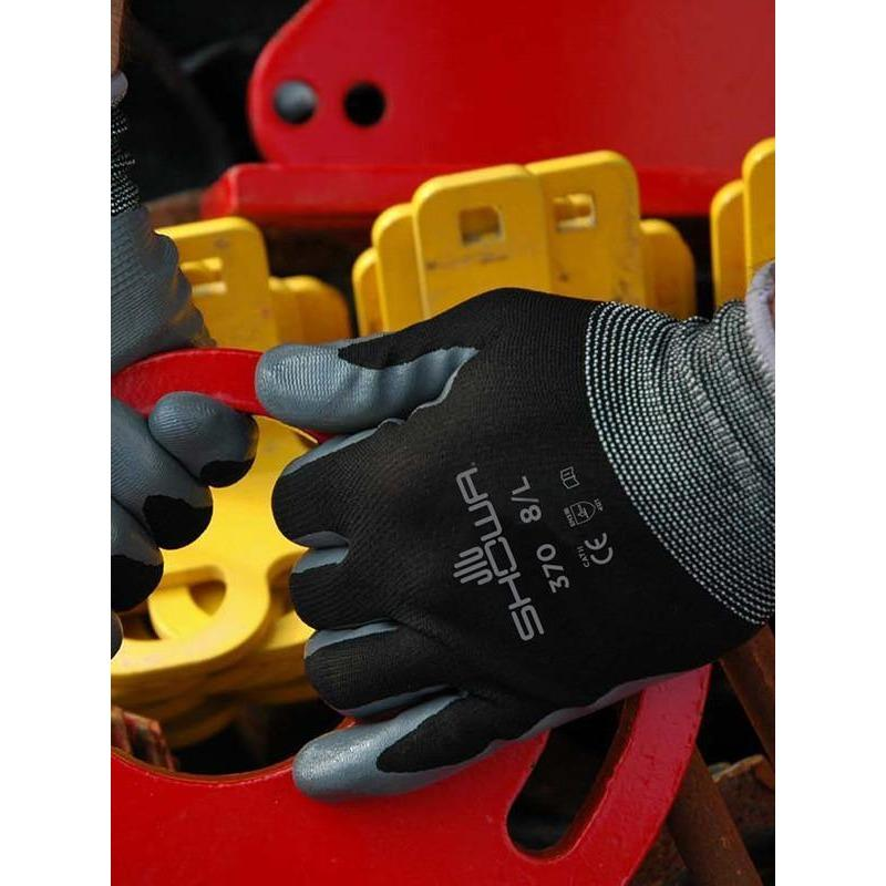 Showa Apparel Glove-Showa/Atlas 370B BLACK working glove S,M,L,XL,XXL size in various pack