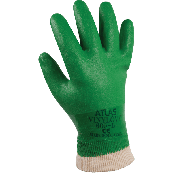 Showa Apparel Glove-SHOWA ATLAS 600 Vinylove Full Dip Knit Wrist Gloves, S,M,L,XL sizes in various pack