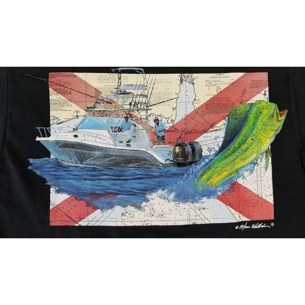 Steve Whitlock Apparel Steve Whitlock Signature Men's AL Flag Gulf Dolphin SS Shirts